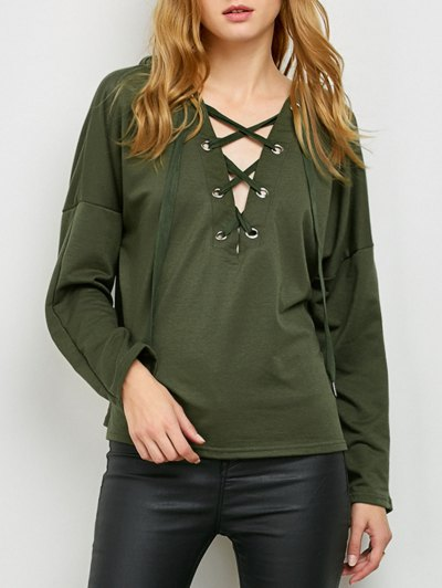 V Neck Lace Up Hoodie - ARMY GREEN L Mobile
