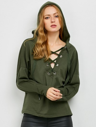 V Neck Lace Up Hoodie - ARMY GREEN XL Mobile