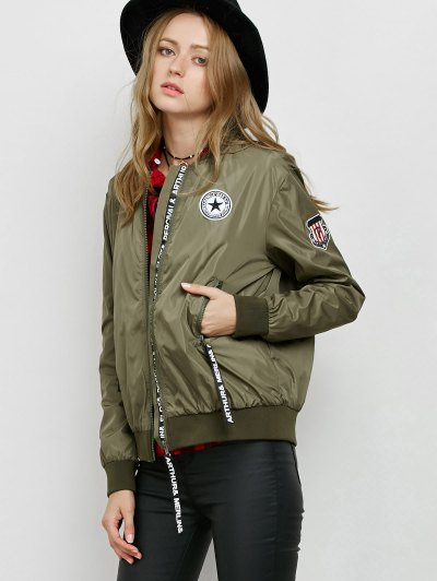 Zipper Patch Bomber Jacket - ARMY GREEN M Mobile