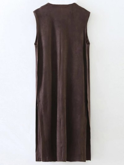 Collarless Side Slit Suede Waistcoat - COFFEE L Mobile