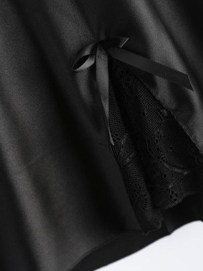 Bowknot Lace Panel Babydoll - BLACK L Mobile