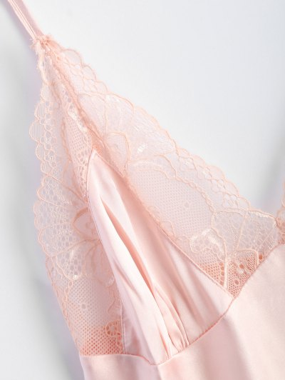 Bowknot Lace Panel Babydoll - PINK L Mobile