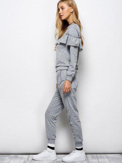 Flounced Sweatshirt and Pockets Design Pants - GRAY M Mobile
