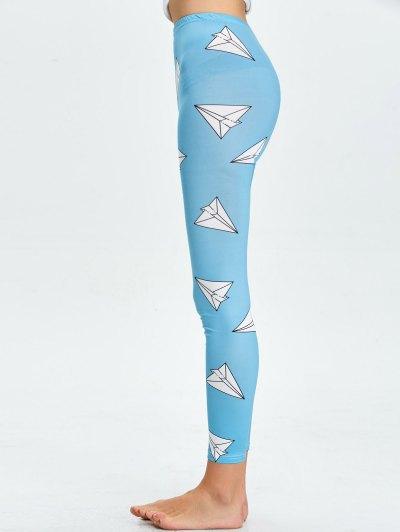 High Waist Skinny Geometric Print Leggings - LAKE BLUE M Mobile