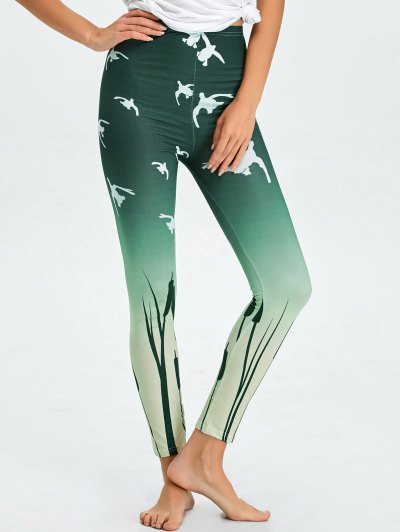 High Waist Skinny Ombre Print Leggings - BLACKISH GREEN XL Mobile