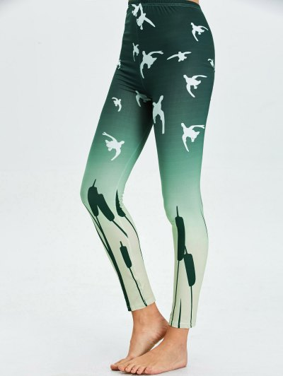 High Waist Skinny Ombre Print Leggings - BLACKISH GREEN L Mobile