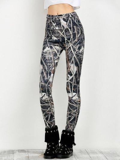 Elastic Waist Print Leggings - FLORAL L Mobile
