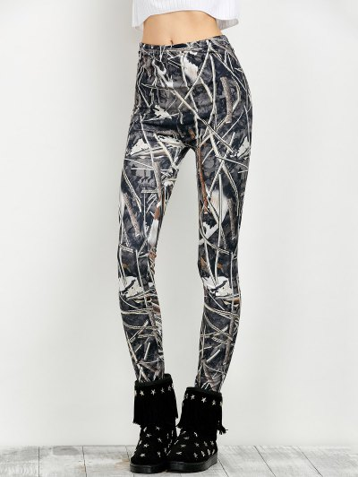 Elastic Waist Print Leggings - FLORAL M Mobile