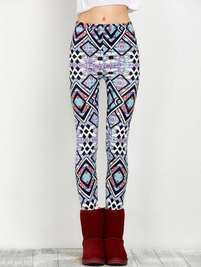 Elastic Waist Geometric Print Leggings - FLORAL L Mobile
