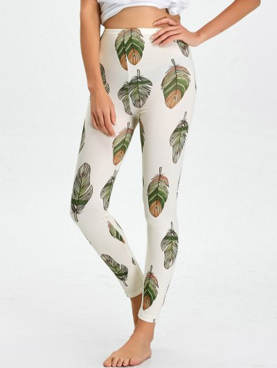 High Waist Skinny Leaf Print Leggings - WHITE XL Mobile