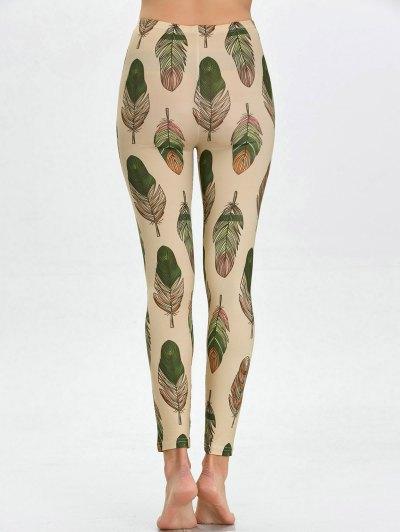 High Waist Skinny Leaf Print Leggings - APRICOT L Mobile