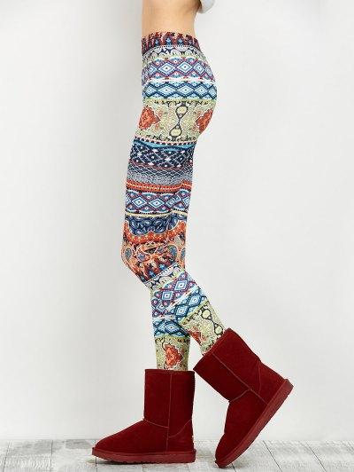 Elastic Waist Skinny Print Leggings - FLORAL XL Mobile