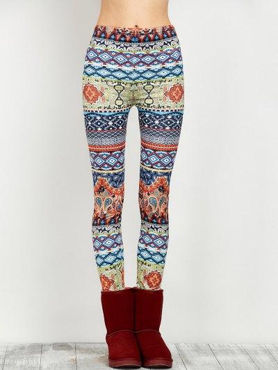 Elastic Waist Skinny Print Leggings - FLORAL L Mobile