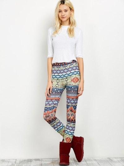 Elastic Waist Skinny Print Leggings - FLORAL M Mobile