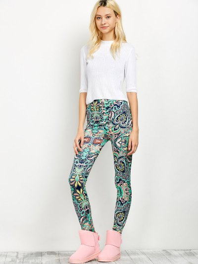 Mid Rise Skinny Print Leggings - FLORAL XL Mobile