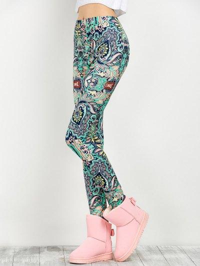 Mid Rise Skinny Print Leggings - FLORAL L Mobile