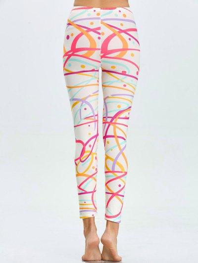 High Waist Skinny Graphic Leggings - WHITE XL Mobile