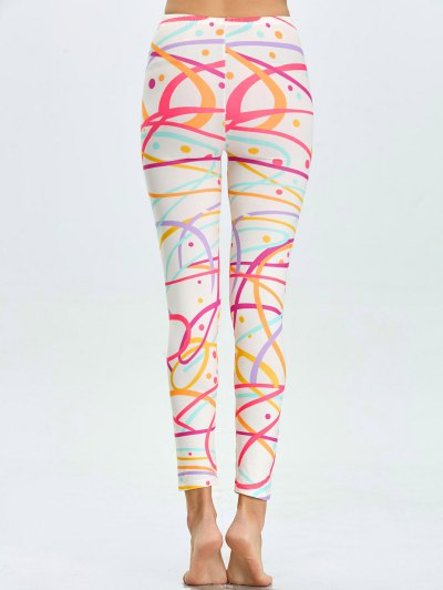 High Waist Skinny Graphic Leggings - WHITE M Mobile