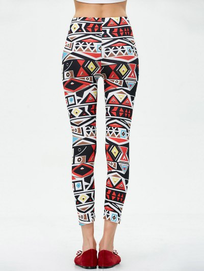 Mid Rise Patterned Stretchy Leggings - COLORMIX L Mobile