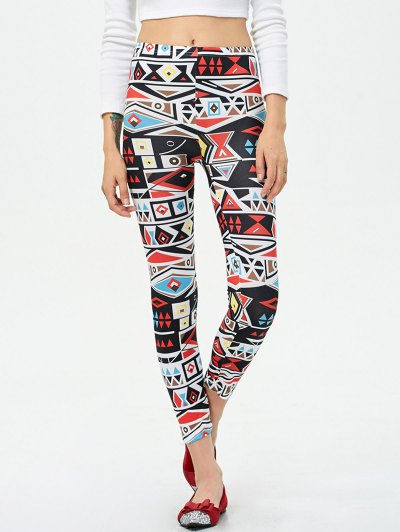 Mid Rise Patterned Stretchy Leggings - COLORMIX M Mobile