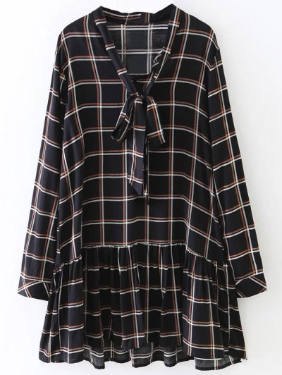 Bow Tie Collar Plaid Dress - CHECKED M Mobile