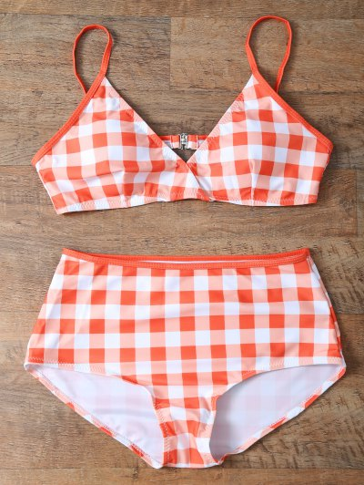 High Rise Checked Bikini - JACINTH M Mobile