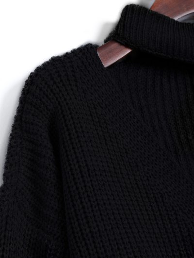 Ribbed Zipper Choker Swater - BLACK ONE SIZE Mobile