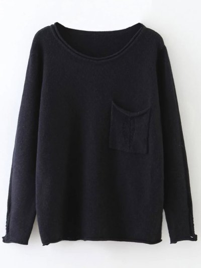 Round Neck Ripped Sweater with Pocket - BLACK ONE SIZE Mobile