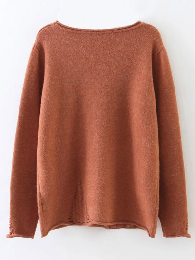 Round Neck Ripped Sweater with Pocket - BRICK-RED ONE SIZE Mobile