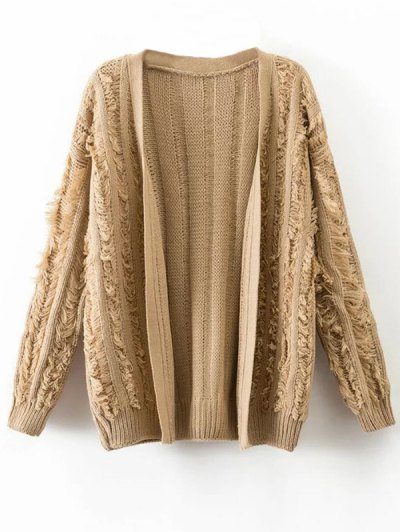 Tassel Collarless Knitted Cardigan - KHAKI ONE SIZE Mobile