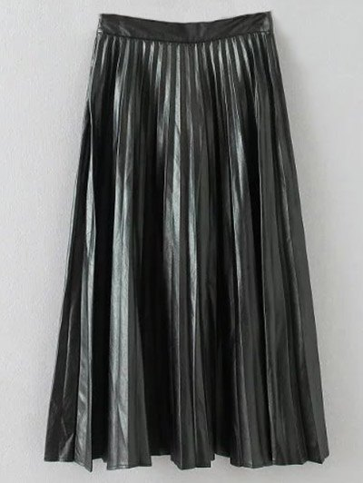Pleated PU Leather Long Skirt - BLACK L Mobile