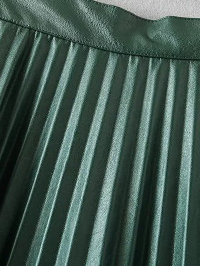 Pleated PU Leather Long Skirt - BURGUNDY M Mobile