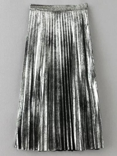 Metallic Color Pleated Skirt - SILVER L Mobile