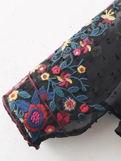Peplum Embroidered Plumetis Blouse - BLACK L Mobile