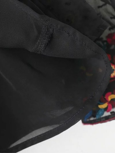 Peplum Embroidered Plumetis Blouse - BLACK M Mobile