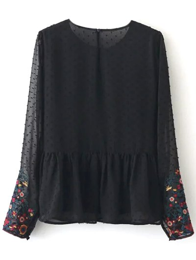 Peplum Embroidered Plumetis Blouse - BLACK S Mobile