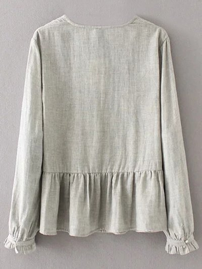 Peplum Hem Embroidered Blouse - GRAY L Mobile