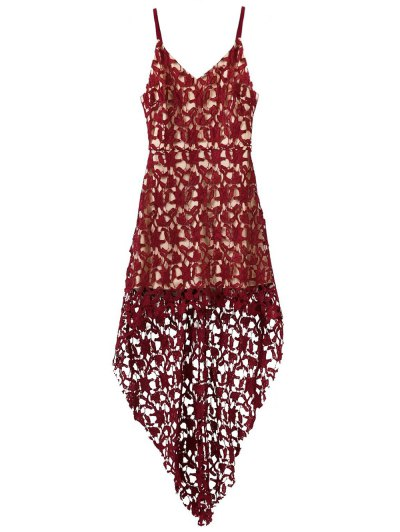 High Low Crochet Dress - BURGUNDY S Mobile
