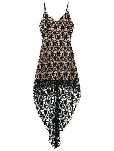 High Low Crochet Dress - BLACK L Mobile