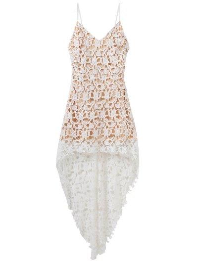 High Low Crochet Dress - WHITE L Mobile
