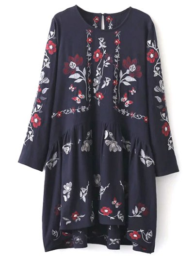 Embroidered Shapeless Dress - CADETBLUE L Mobile