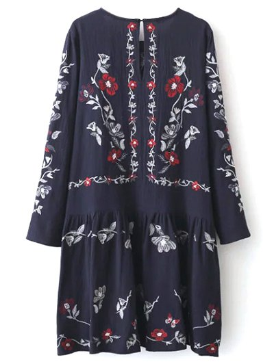 Embroidered Shapeless Dress - CADETBLUE M Mobile