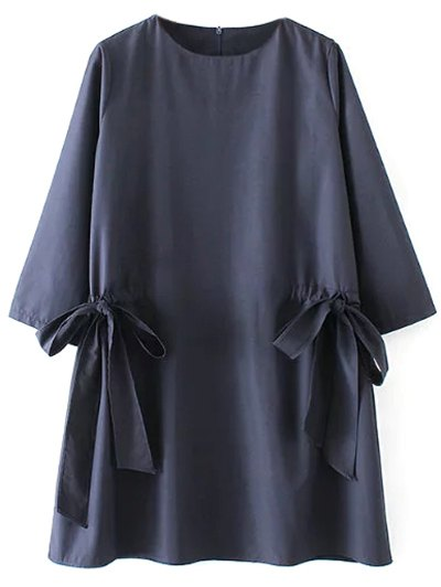 Bow Tie Tunic Dress - PURPLISH BLUE L Mobile