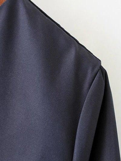 Bow Tie Tunic Dress - PURPLISH BLUE S Mobile