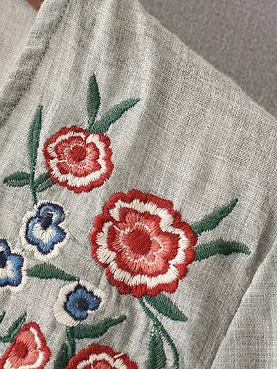 Peplum Hem Embroidered Blouse - GRAY S Mobile