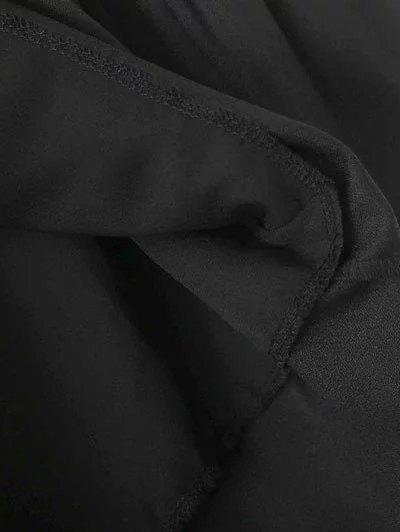 Frilled Embroidered Dress - BLACK S Mobile