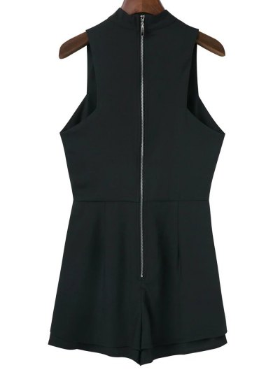 Sleeveless Choker Neck Beach Romper - BLACK M Mobile