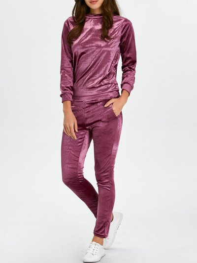 Stand Collar Velvet Tee and Velvet Sport Pants - PURPLISH RED L Mobile