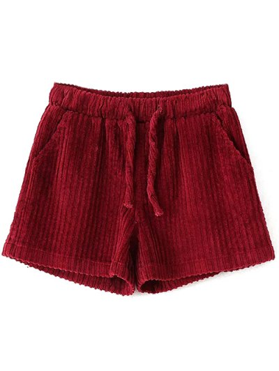 Winter Corduroy Shorts - WINE RED S Mobile
