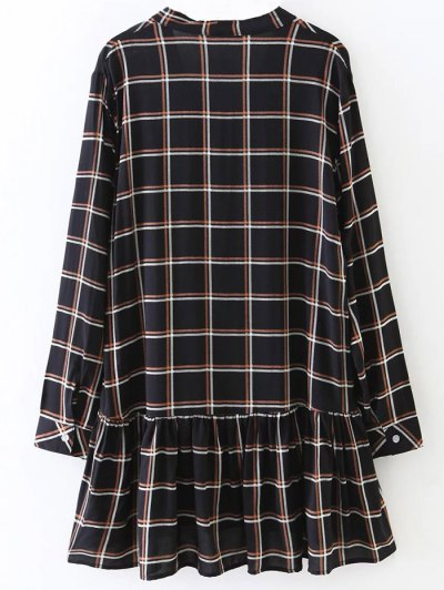 Bow Tie Collar Plaid Dress - CHECKED L Mobile